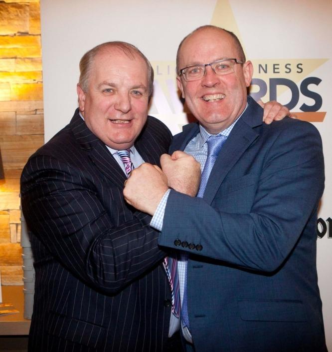 Gavin Duffy and Gerry Moore, Manager, the Sligo Park Hotel at the reception of The Sligo Champion Business Awards 2017